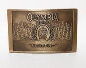Olympia Beer Brass Belt Buckle