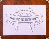 Hand drawn Birthday card-Two cats holding a Happy Birthday banner
