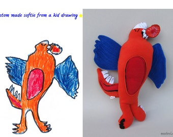 Softie-making with children's drawings Dragon softie from artwork - MADE TO ORDER