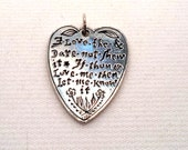 Vintage Sterling Silver Heart Love Poem Pendant
