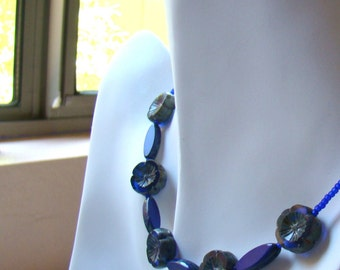 Blue Boho Chic Flowers Necklace, Bohemian Cobalt Choker, Everyday Jewelry, Boho Style, Sterling Clasp - BJ0055