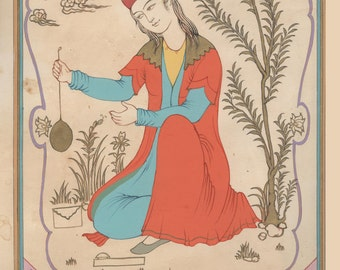 "Persian painting-Tarot card original painting ""La Papesse""-Marseille tarot-persian tarot"