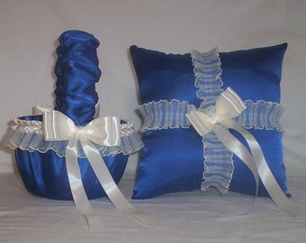 Blue Horizon Satin With Ivory Cream Lace Trim Flower Girl Basket And Ring Bearer Pillow Set 1