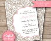 Printable Damask Birthday Party Invitation, Damask Birthday Party Invite, Damask Party Invite - Elegant Damask in Taupe, Coral