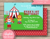Printable Circus Birthday Party Invitation, Circus Birthday Party Invite, Circus Party Invite - Silly Circus in Red, Green, Aqua