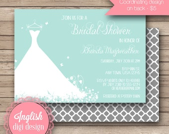 Wedding Gown Bridal Shower Invitation, Printable Bridal Shower Invitation, Wedding Dress Bridal Shower Invite in Soft Teal and White