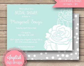 Rose Bridal Shower Invitation, Printable Bridal Shower Invitation, Rose Bridal Shower Invite - Mod Rose Silhouette in Soft Teal and White