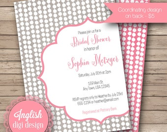 Mod Dots Bridal Shower Invite, Printable Dots Bridal Shower Invitation, Dots Bridal Shower - Modern Dots in Gray, Pink and White