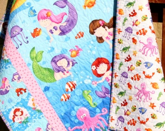 Baby Quilt, Little Mermaids, Reversible, Girl Bedding, Nursery Decor, Ocean Nautical Fish, Under the Sea, Beach Sea Shells, Octopus Seahorse