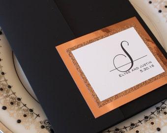 Elegant Copper and Black Pocketfold Invitation Suite