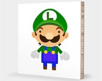L is for Luigi : ABC Block Bamboo Wall Art Series // Alphabet Kids Wall Art Nursery Room Decor Baby Mario