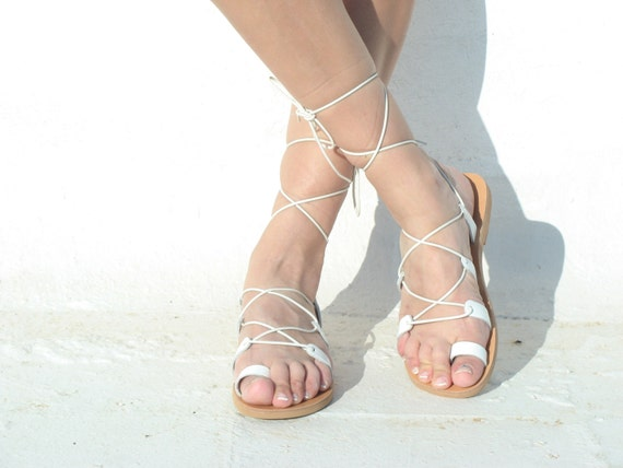 Womens sandals,Womens gladiator , white sandals, Gladiator Sandals,lace up sandals, gypsy sandals