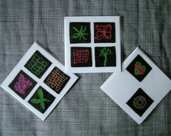 Set of three machine embroidery cards