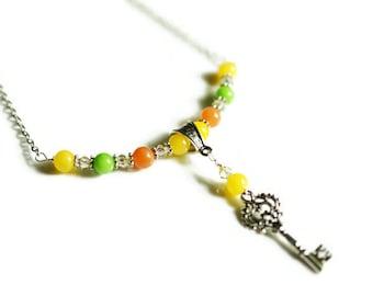 Adventurine Necklace, Jade Necklace, Green, Yellow & Orange Necklace, Key Necklace, Bar Necklace, Colorful Necklace