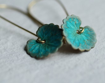Green Leaf Earrings ... Boho Turquoise Lily Pad Long Earrings