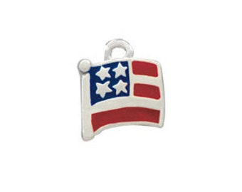 Silver Plated, Enameled,  American Flag Charm, Qty.1