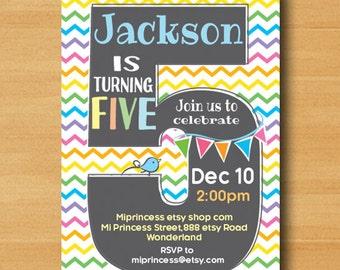 Rainbow Birthday party invitation chevron, 1st 2nd 3rd 4th 5th 6th 7th Birthday Invitation, two three four five six seven - card 614