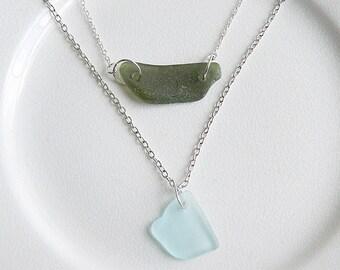 Sea Glass Layered Necklace, Olive Green & Aqua Blue Genuine Beach Glass, Multi Strand Seaglass Necklace