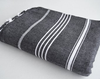 SALE 50 OFF/ Classic Blanket / Black / Beach blanket, Picnic blanket, Sofa throw, Tablecloth, Bedcover