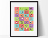 Difficult Feelings Poster, Educational Alphabet Vocabulary Word Art for Kids, Children, Language Arts Classroom Decor, Teacher Gift