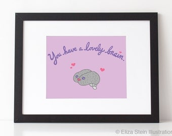 Kawaii Brain Inspirational Poster, Motivational Art Print, Pink and Purple, Dorm Decor, Graduation Gift