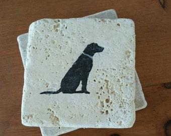 "Labrador Retriever coasters, 4"" x 4"" Tumbled Stone, dog drink coasters"