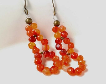 Carnelian Gemstone Earrings With Antiqued Brass, Bronze Accents