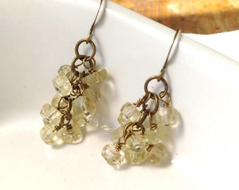 Faceted, Lemon Quartz Gemstone Cluster Earrings With Antiqued Brass, Bronze Accents