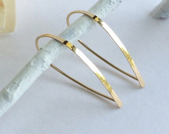Flat Front Gold Hoop Earrings, Small Teardrop Hoops, Threader Earrings