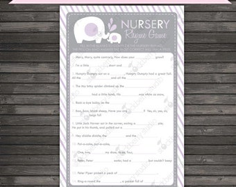Purple Elephant Baby Shower Nursery Rhyme Game Printable - Girl Baby Shower Games - Instant Download - Lavender Baby Shower Games - Activity