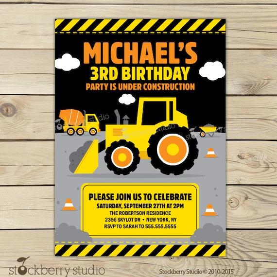 Construction Birthday Invitation Printable Digger Birthday