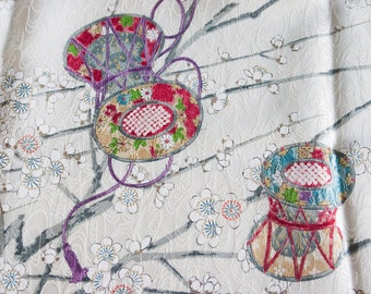 Pastel Drums Plum Blossoms - Vintage Kimono Silk Fabric (34.0 x 14.1 inches)