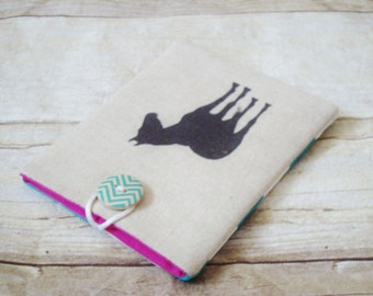 Horse Passport Cover / Turquoise chevron and pink lining