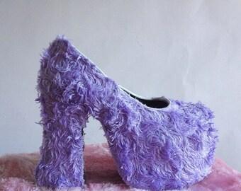 Lavender Fuzzy Platform Kawaii High Heels // 8
