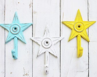 Star Wall Hooks- Colorful- Cast Iron -Small Dainty-Set Of Three-Laundry Room-Summer Decor-Cute-Shabby Cottage-Distressed Hook