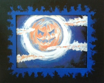 Pumpkin Moon Print with Hand Painted Cardboard Mat