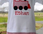 Personalized custom birthday train applique shirt with Red & White Stripe seersucker Shorts