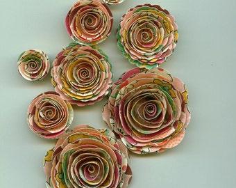 Flower Power Handmade Spiral Paper Rose Flowers Pink, Plum, Yellow, Green Colors
