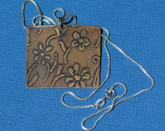 Roller Printed Bronze Flower Pendant with Sterling Silver Box Chain