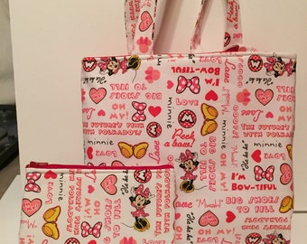 Minnie Mouse Junior Tote with matching zipper bag