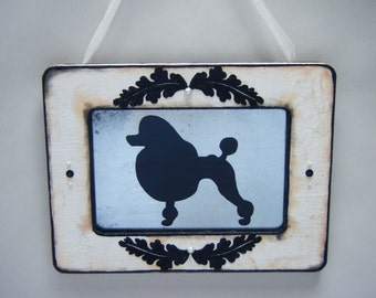 French Fancy Poodle Antiqued Mirror White Black Shabby Chic Cottage Paris Dog Lover Wall Decor 1950s