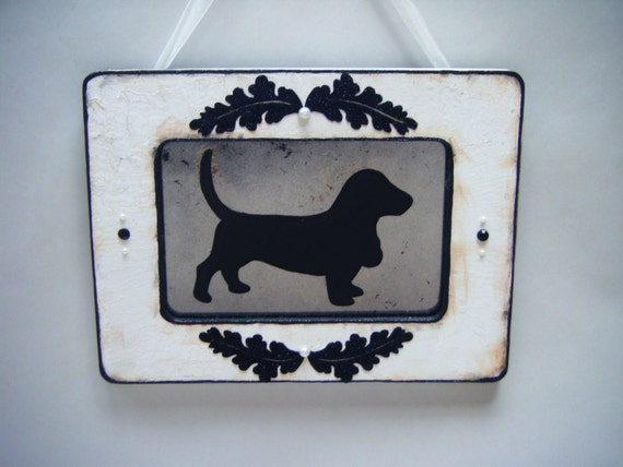 Basset Hound Dog Silhouette White Black Shabby Chic Antiqued Mirror French Country Wall Decor Cottage Vintage Style