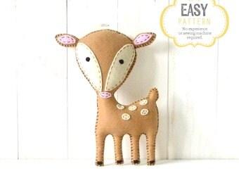 Deer Stuffed Animal Pattern, Felt Hand Sewing Deer Plushie Pattern, Fawn Softie Pattern, Instant Download PDF