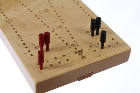 """Jumbo Tournament Cribbage Board, 20-3/8""""L x 5""""W x 3/4""""H, Premium Quality, 2 Player, Laser Engraved, Wooden Games, Solid Maple, Paul Szewc"""