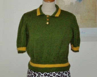 Hand knitted vintage stye polo shirt in green with yellow trim - UK 12-14, US 10-12