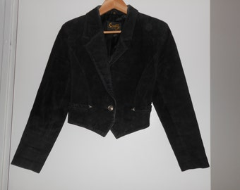 Vintage 1970s SCULLY cropped black suede / leather jacket, size 6 small