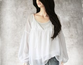 White blouse chiffon/Peasant top/Long sleeve shirt/Pleated ties