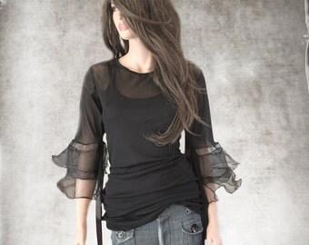 Black blouse women/Long sleeve organza trim/Mesh knit top