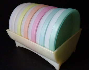 Vintage Tupperware Coasters pastel set of 6 with caddy 1950's