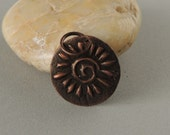 SALE Copper Spiral Sun Charm, Artisan Jewelry, Handmade Copper Pendant, Copper Charm, Copper Metal Clay